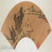 【欣赏级】GH6070392古画山水风景Qian Gu扇面图片-13M-3200X1480