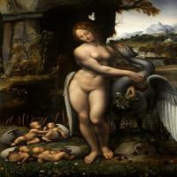 意大利天才画家达芬奇的装饰画-丽达与天鹅