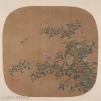 【印刷级】GH6080477古画花卉鲜花鸟古代-野花采蜜蜂小品图片-32M-3214X3566