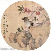 【印刷级】GH6061084古画任伯年花鸟小品图册(5)-小鸟-花朵册页图片-29M-3281X3168