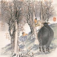 【印刷级】GH6061578古画任薰-生肖人物图册(12)-动物-丑牛册页图片-77M-5652X4209_57061078