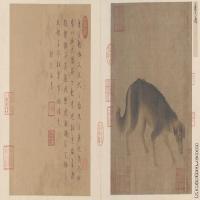 【印刷级】GH6080200古画动物猎犬图页故宫博物院藏-宋-李迪国画工笔画小品-72x30-167.5x70-小品图片-130M-10462X4366