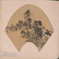 【印刷级】GH6040270古画扇面山水图-王问图片-68M-7032X3396_18128127