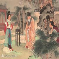 【印刷级】GH6061774古画西厢记-人物-女人-赖简册页图片-27M-3516X2642