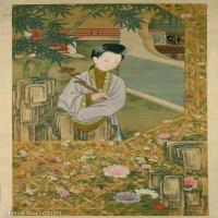 【印刷级】GH6151068古画册页人物清雍亲王题书堂深居图屏立持如意北京故宫藏品图片-59M-3473X6033_57625973