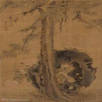 【印刷级】GH6085544古画树木植物-松石牡丹立轴图片-75M-3781X6937_18031718