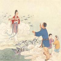 【印刷级】GH6061519古画牛郎七夕相会-人物-喜鹊-天空册页图片-80M-5218X4035