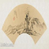 【打印级】GH6070289古画山水风景扇面图片-39M-5300X2622