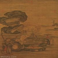【打印級】GH6088040古畫山水風景宋劉松年羅漢圖絹本52.06x100.6立軸圖片-56M-2824X5456_1931042