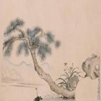 【打印级】GH7280511古画植物莲浦松阴图松阴镜片图片-42M-5251X3071_19971825