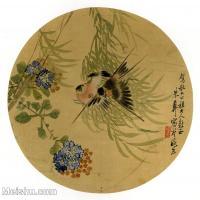 【印刷级】GH6080440古画花卉鲜花鸟-清代名家朱彝-燕子海棠-小品图片-17M-2480X2449-17M-2480X2449