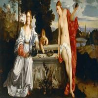 意大利画家提香·韦切利奥的布面油画-天上的爱与人间的爱