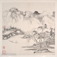 【印刷级】GH6063059古画明清代名家山水风景画册1册页图片-39M-4000X3408