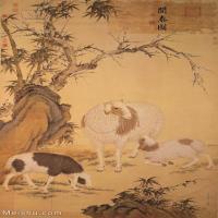 【印刷级】GH6085048古画动物开泰图-郎世宁-清-30x50-40x66-牧羊-山羊-工笔羊立轴图片-178M-5315X8782_57390193