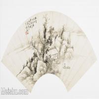 【打印级】GH6070284古画山水风景扇面图片-44M-5300X2925