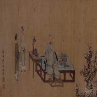 禹之鼎王原祁艺菊图卷-清朝-人物