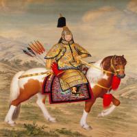 郎世宁乾隆皇帝大阅图轴-清朝-人物