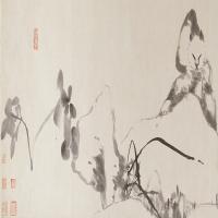 朱耷猫石图卷-清朝-花鸟