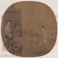 【印刷级】GH6080620古画人物骷髅幻戏图-李嵩国画工笔画-30x30-60x60-看戏-小品图片-60M-4590X4579