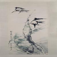 任颐风柳群燕图轴-清朝-花鸟