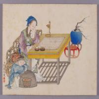 喻兰仕女清娱图册-清朝-人物