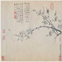 【打印级】GH6105016古画镜片墨梅图-元-王冕国画水墨小品-39x25-55x35-花卉-梅花图片-33M-4307X2704