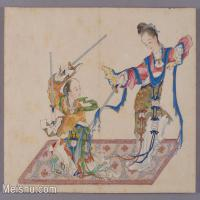 【印刷级】GH6061843古画清-喻兰-仕女清娱图册-人物-舞剑册页图片-19M-3005X2311