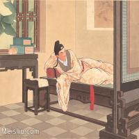 【印刷级】GH6061769古画西厢记-人物-女人-卧病册页图片-24M-3551X2669