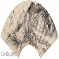 【打印级】GH6070418古画山水风景汤涤山水扇面图片-32M-4910X2298
