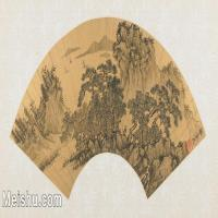 【欣赏级】GH6070395古画山水风景Xie Shichen扇面图片-14M-3199X1578