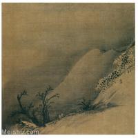 【欣赏级】GH6080945古画山水风景南宋-梁楷-雪栈行旅图页小品图片-13M-2196X2124