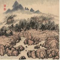 【印刷级】GH6060113古画石涛设色山水风景册页图片-52M-3978X3380_56931129