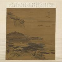 李寅山水楼阁图轴-清朝-山水