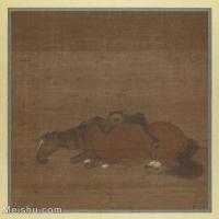"""【印刷级】GH6080178古画动物唐绘手鑑""""笔耕园""""马猿猴图-国画水墨小品-25x25.5-100x102-小品图片-103M-5976X6062"""