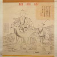 弘历采芝图轴-清朝-人物