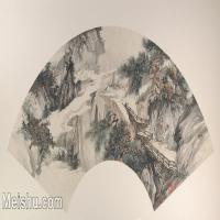 【打印级】GH6070371古画山水风景扇面图片-22M-4000X2008