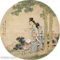 【印刷级】GH6080575古画人物清-周春山执扇读书小品图片-42M-3834X3848