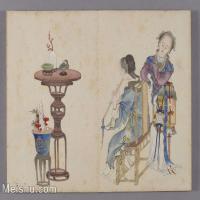 【印刷级】GH6061838古画清-喻兰-仕女清娱图册--人物-女人-吹箫册页图片-42M-4441X3354