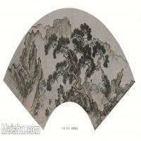 【印刷级】GH6070416古画山水风景松荫扇面扇面图片-84M-6619X3350