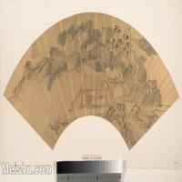 【打印级】GH6070306古画山水风景扇面图片-26M-4000X2318