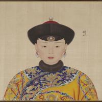 【印刷级】GH6151054古画册页人物清郎世宁高宗帝后像-舒妃图片-6M-1300X1785_57611715