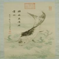 慈禧鱼藻图轴-清朝-花鸟
