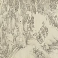 禹之鼎李图南听松图像卷-清朝-人物