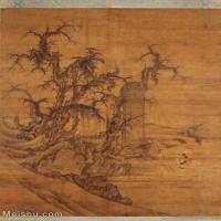 【印刷级】GH6085345古画树木植物-读碑窠石图-五代-李成王晓-绢本30x36-60x72-山水-枯木古木立轴图片-84M-4793X6144_5026508