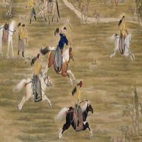 郎世宁等乾隆皇帝射猎图轴-清朝-人物