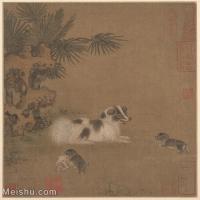 【印刷级】GH6080189古画动物犬戏图册页水墨设色绢本-明-国画水墨小品-25x26-50x52-小狗玩耍-小品图片-47M-4000X4153