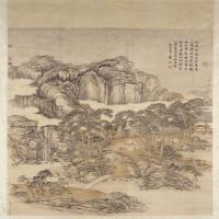 张宗苍乾隆皇帝抚琴图轴-清朝-人物