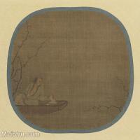 【印刷级】GH6080549古画人物唐绘手鑑笔耕园马远-舟人形图-绢本着色-21.2×21.8团扇-小品图片-52M-4344X4254