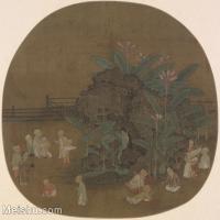 【印刷级】GH6080643古画人物蕉石婴戏图页-国画水墨-26.5x25-96x90-孩童-芭蕉-小品图片-83M-5574X5230