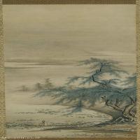 【打印级】GH6088757古画山水风景狩野正信-周茂叔爱莲说立轴图片-51M-2653X6730_15466734